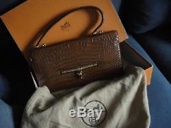 HERMES sac à main vintage cognac. Modèle Palonnier. Etat neuf