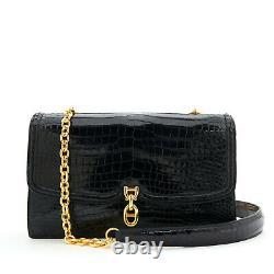 Hermès Bag Sac Chaine Ancre black porosus croco CITES