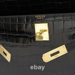 Hermès Bag Sac Kelly 32 crocodile Porosus Black CITES