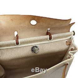 Hermes Ici Sac Sac Bandoulière mm Toile H Cuir Beige Vintage Authentiques #