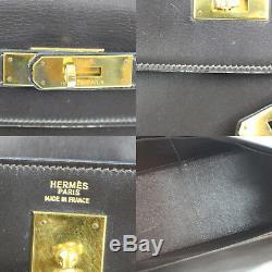 Hermes Kelly 32 Sac à Main Cuir Marron Foncé Vintage 1985 France Authentiques