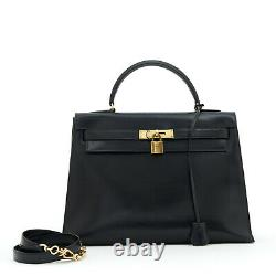 Hermès Sac Bag KELLY 32 SELLIER BLACK BOX CALF