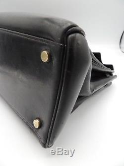 Hermes Sac Kelly 32 Vintage Box Noir Accessoires Plaque Or Bon Etat