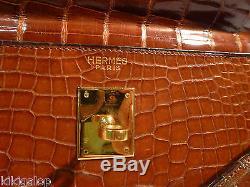 Hermes Sac Kelly 33 Cuir Crocodile Porosus Vintage Circa 50 Dust Bag Certificat