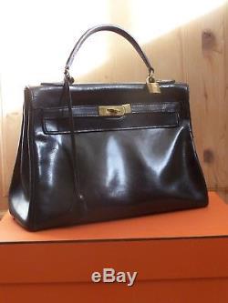 Sac Kelly En Box Hermès Retourné 32 Vintage Noir 1963 l1JcFT3K