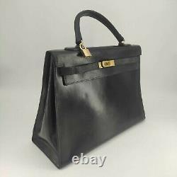 Hermes, Sac Vintage Kelly 35cm en cuir box noir