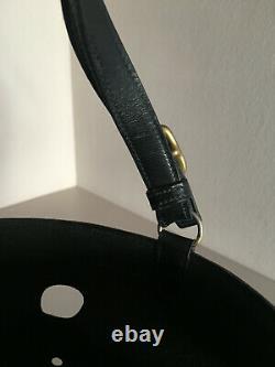 Hermès Sac sceau mangeoire / En cuir noir / Vintage