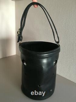 Hermès Sac seau mangeoire / En cuir noir / Vintage