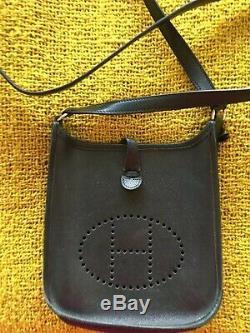 Hermes Vintage Sac Mini Evelyne Bandouilliere Cuir Noir
