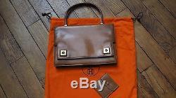 Hermes sac a main modele piano brun caramel + pochette Vintage et authentique