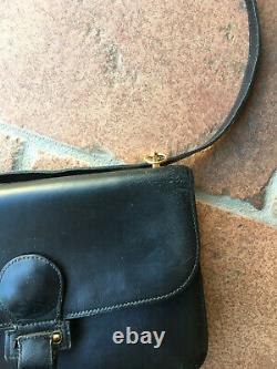 Hermès sac en cuir noir Porté épaule Cuir box Vintage