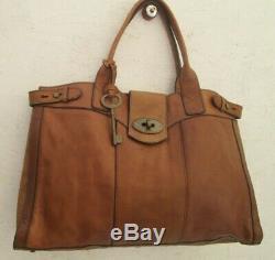 Joli grand sac à main FOSSIL cuir camel 45x30x10 cm vintage bag