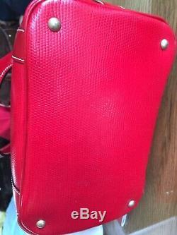 LANCEL ELSA Sac Seau vintage ensemble pochette portefeuille porte-clé Cuir rouge