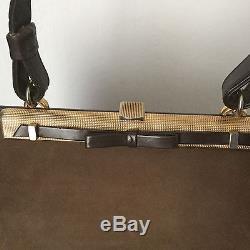 LOEWE, Sac A Main, Nubuck Et Cuir Camel Vintage 1950 Handbag TRES RARE