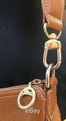 LONGCHAMP Paris SAC BANDOULIERE EN CUIR GRAINE CAMEL Made in France Vintage