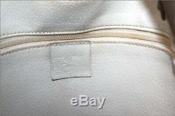 LONGCHAMP Sac Seau Vintage Cuir Blanc Marine Grand Format TBE