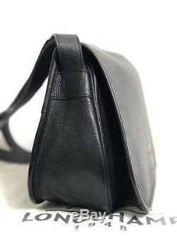 Longchampsac Bandouliere Cuir Noir Le Foulonné Vintage +dustbag État Neuf