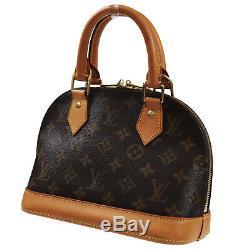Louis Vuitton Alma BB Main Sac Marron Monogramme Cuir M53152 Vintage Auth #P870