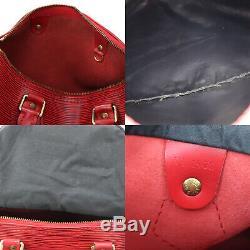 Louis Vuitton Vitesse 25 Main Sac Rouge Cuir Eppi M43017 Vintage Auth #AA916 W