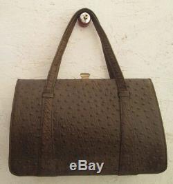 Magnifique sac à main en cuir d'autruche véritable vintage bag