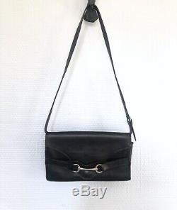 Mini sac en cuir noir CELINE Paris vintage années 60/70
