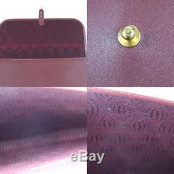 Must de Cartier Logos Sac à Main Pochette Bordeaux Cuir Vintage Authentique #