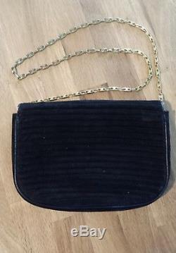 Petit sac en bandoulière en velours et cuir noir CELINE vintage