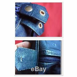 Petit sac polochon vintage Christian DIOR en toile bleue marine anse cuir Logo