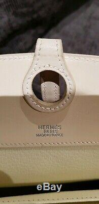 RARE Authentique Sac à main Hermès bag cuir leather luxe vintage Blanc White