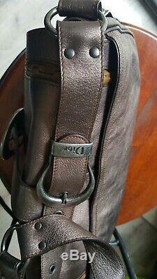 RARE SAC a main CUIR bronze CHRISTIAN DIOR AUTHENTIC Saddle GAUCHO VINTAGE BAG
