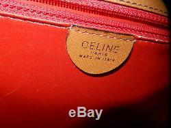 Rare Ancien Sac Céline Cuir Beige Intérieur Agneau Rouge Porte Épaule Vintage