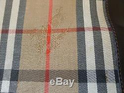 Rare Sac Cabas XL Burberrys Modele Vintage Tissu Tartan Garniture Cuir Brun