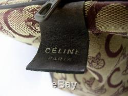 Rare Sac Celine Ancien Vintage En Cuir Et Toile Vers 1960