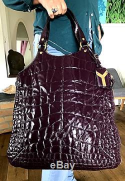 Rare Sac YVES SAINT-LAURENT VINTAGE forme cabas cuir matelassé vernis violet