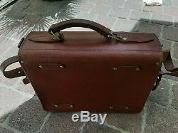 Rare Vintage Leather Tools Bag Ancien Sac En Cuir A Outil De Metier déployant