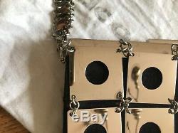 Rare sac pochette Paco Rabanne Vintage 1990 noir et carrés chrome bag