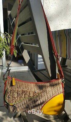 SAC A MAIN CHRISTIAN DIOR Galliano saddle rasta vintage EN TOILE ET CUIR BAG