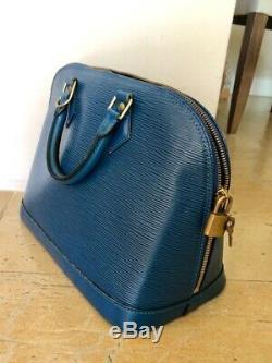 Sac Alma Louis Vuitton Cuir epi bleu Vintage