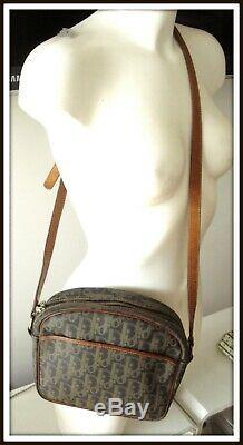 Sac Bandoulière Christian Dior Cuir toile enduite marron bag borsa vintage