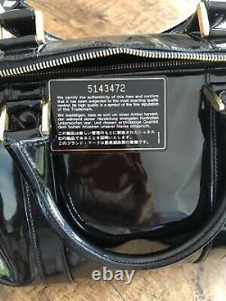 Sac Boston Chanel Cuir Verni Noir Vintage