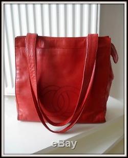 Sac Chanel Cuir rouge made Italie vintage authentique! Bag borsa