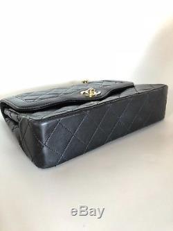 Sac Chanel, Timeless Double Flap Bag Medium en cuir noir argent or Diana Vintage