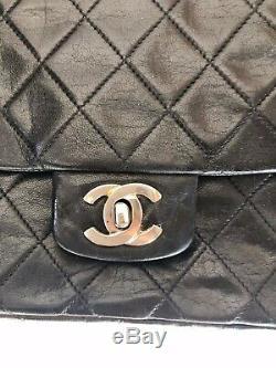 Sac Chanel Timeless Vintage noir en cuir d'agneau bag