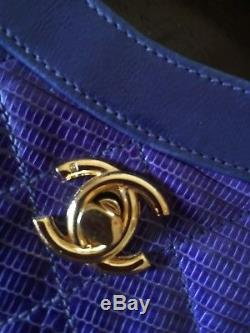 Sac Chanel Vintage Cuir Violet/bleu
