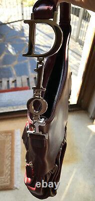 Sac Christian Dior Galliano en cuir bordeaux Handbag Vintage Neuf 34x24cm +certi