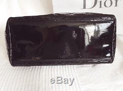 Sac Dior 1995 Modèle Lady Dior En Cuir Noir Verni, Vintage Rare En Très Bon État