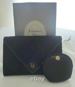 Sac Dior Pochette Vintage Noire & Porte-Monnaie Assorti Tissu et Cuir