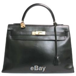 Sac HERMES Kelly 32 box noir Vintage Complet Bel état avec Facture authenticité