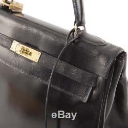 Sac HERMES Kelly 32 cuir box noir vintage