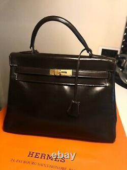 Sac HERMES Kelly 32, en cuir box marron vintage